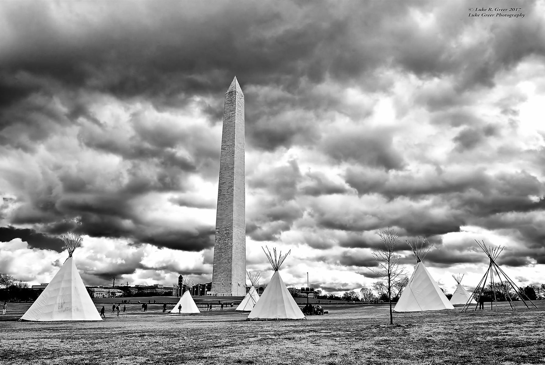 """Sioux Tipi Camp, Washington Monument, Washington DC"", by Luke Greer, part of the ""No Frame Required"" virtual exhibit presented by Purcellville's Franklin Park Arts Center"