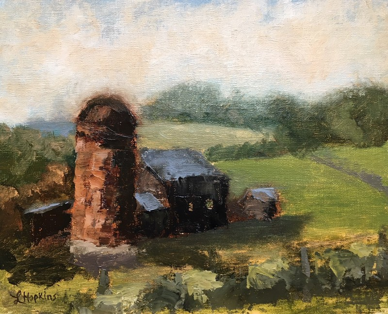 """Cattle Barn and Silo, View from Three Fox Vineyard, Delaplane"" (plein air) by Laura Hopkins"