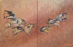 Chauvet Bears and Cats Diptych, after Chauvet Cave paintings in France by CarolLyn Simpson