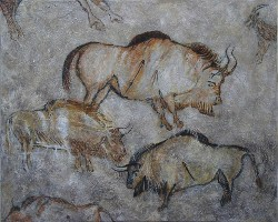Eye-Opening Oxen, after Niaux Cave paintings in France by CarolLyn Simpson