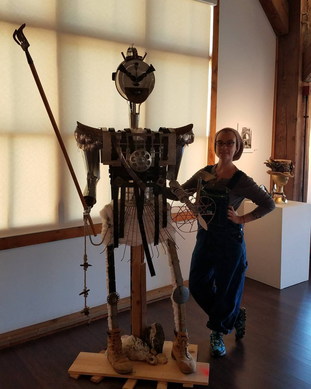 "Artist Padma Koch with her award-winning creation, ""F'Armor"""