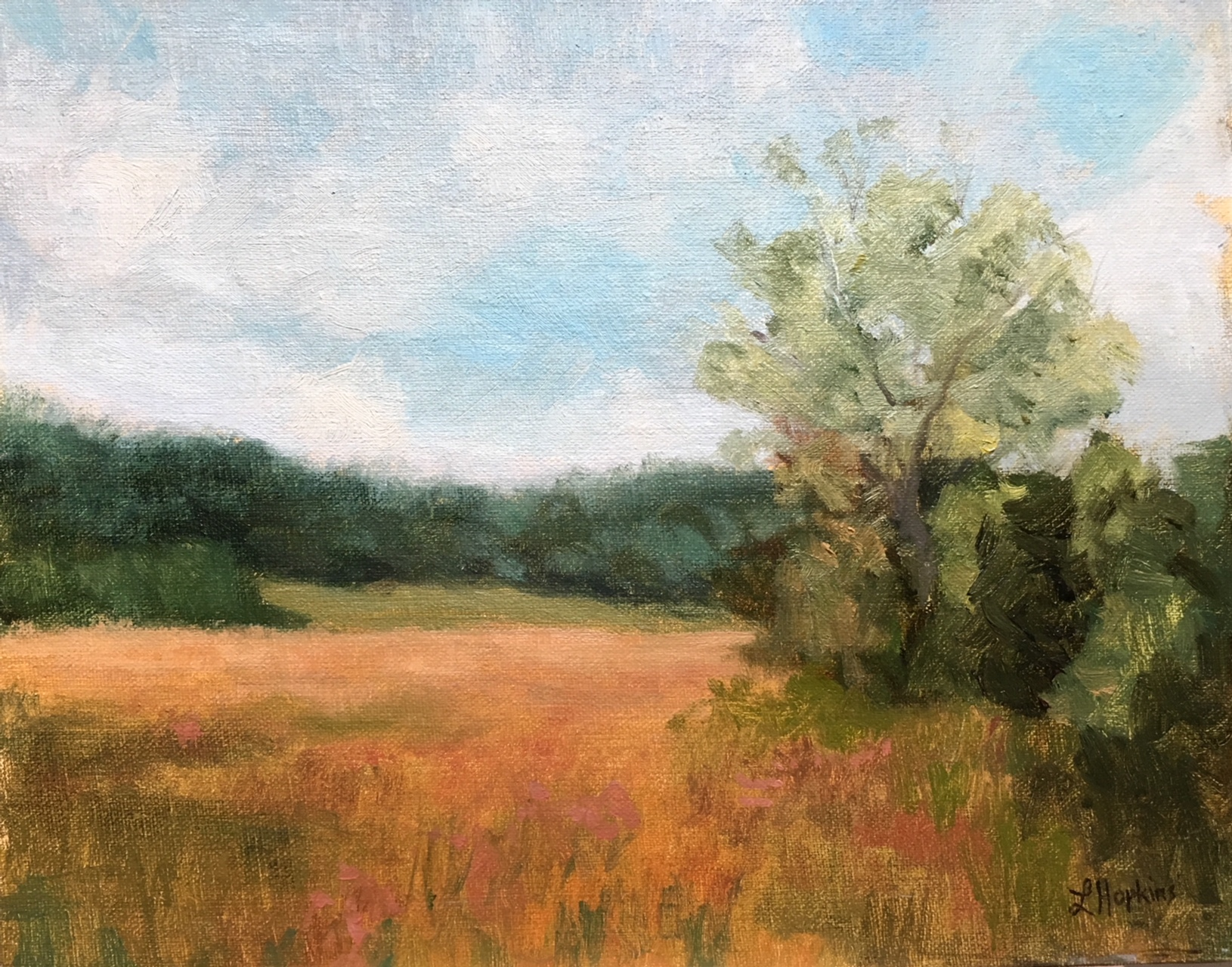 """Hay Field, Peace and Plenty Farm, Upperville"" (plein air) by Laura Hopkins"