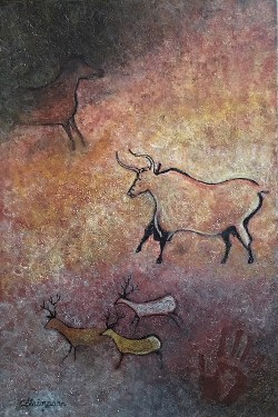 Lascaux Bull, after Lascaux Cave paintings in France by CarolLyn Simpson