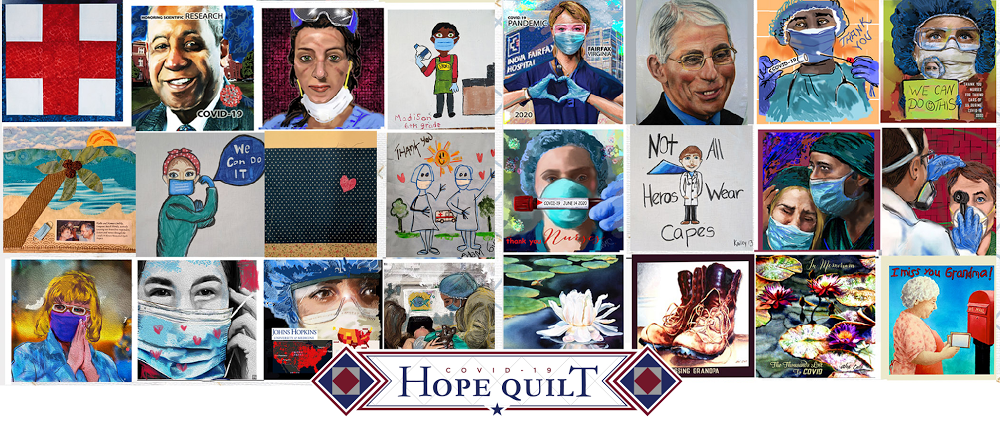 Sample of quilt panels submitted to the COVID-19 HOPE Quilt Project