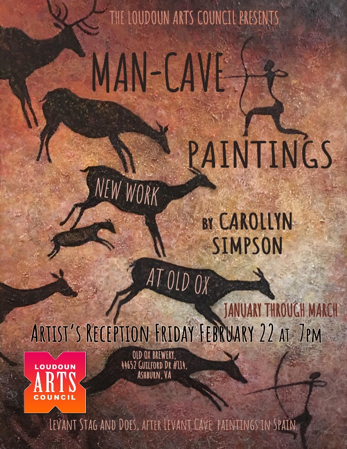 Man-Cave Paintings will be on exhibit at Old Ox Brewery through March 2019, with an artist's reception on Friday, February 22 from 7 pm to 9 pm
