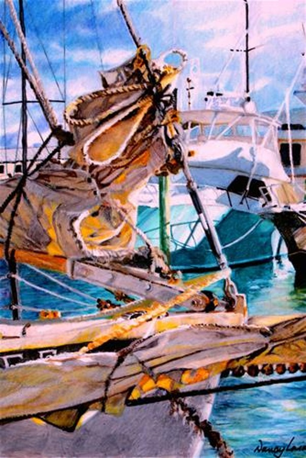 Key West Marina Painting by Nancy Lasater