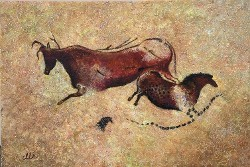Red Cow and Chinese Horse, after Lascaux Cave paintings in France by CarolLyn Simpson