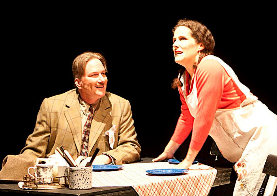 Phil Erickson and Penny Hauffe in The 39 Steps presented by Run Rabbit Run Theatre
