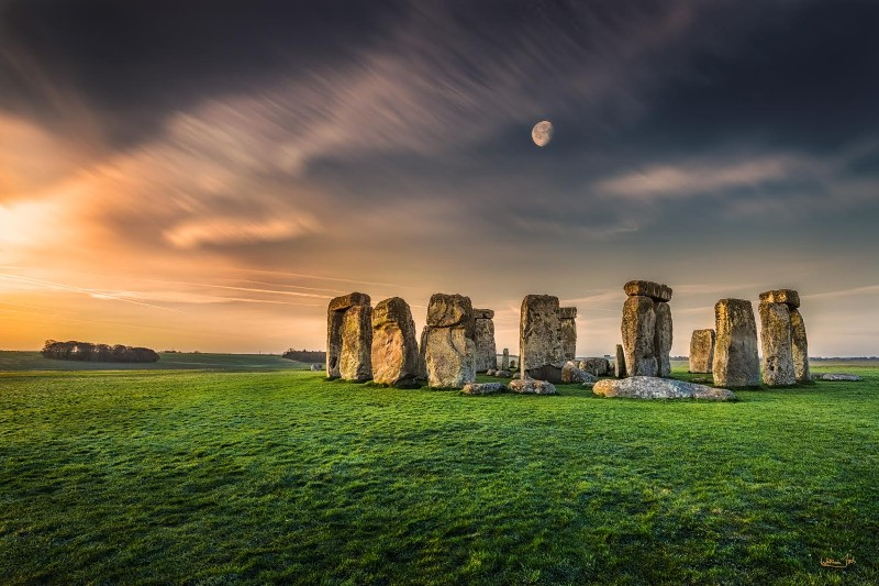 """Moonrise over Stonehenge, England"" by William Toti"